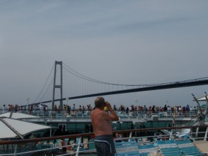 Crowd watching Great Belt Bridge