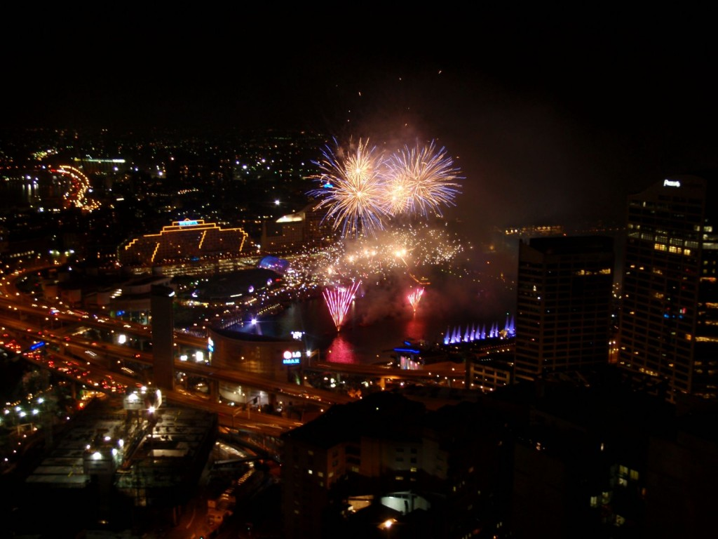 Fireworks at the Darling Harbour in Sydney at Australia Day night
