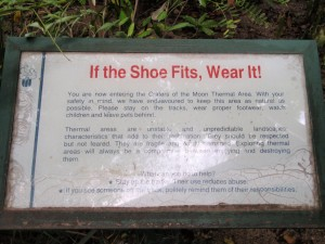 Crater of the Moon NZ warning against barefootness