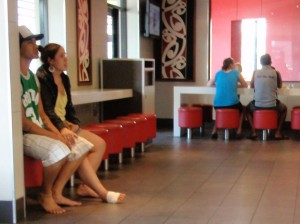 Barefoot with injured foot at the McDonalds fast food restaurant