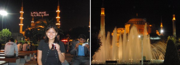 Blue Mosque Ramadan night bazaar - Blue Mosque with chai and Hagia Sophia