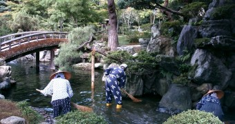 Kyoto Imperial Palace garden - pond raking