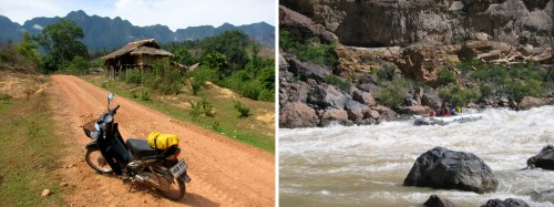 Left: Laos by scooter. Right: Grand Canyon rafting. © BikeandBoots