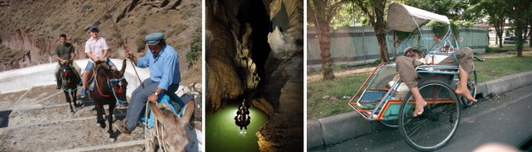Left: Donkey ride in Santorini. Centre: Cave tubing in Waitomo Glowworm Cave, NZ (© www.waitomo.com). Right: Becak-man sleeping in his becak, waiting for a passenger.