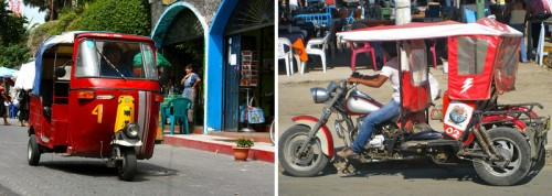 Left: Tuk tuk. Right: Motor taxi. © Two Backpackers