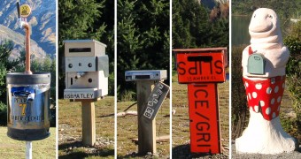 "Mailboxes from left to right: a keg; an espresso maker; a DVD player; street signs ""slips"" and ""ice/grit""; a seal carrying a mail box (this last one is taken in Queen Charlotte Sound)"