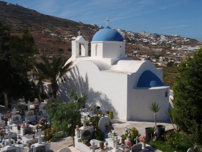 White washed blue domed churches of Santorini.