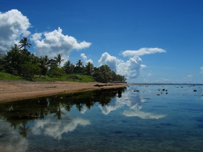 Perfect reflection by a Fijian lagoon