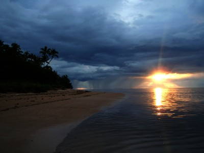 Sunset in a cloudy day in Fiji