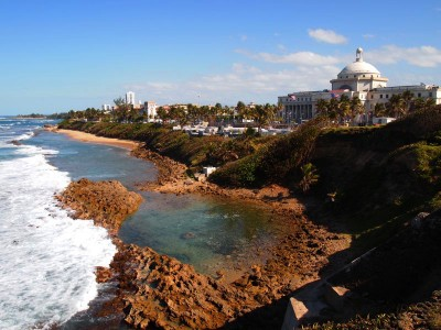 The coastal view from Castillo San Cristobal in Old San Juan, Puerto Rico