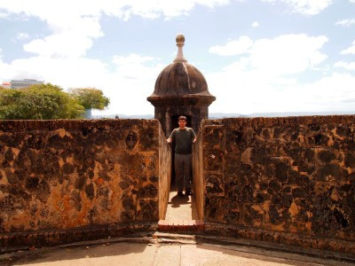 City wall and sentry box in Old San Juan, Puerto Rico