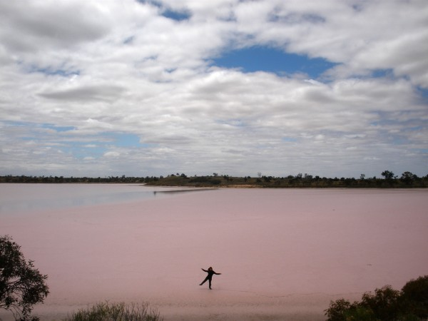 Walking on pink salt lake in Murray-Sunset National Park, Victoria, Australia