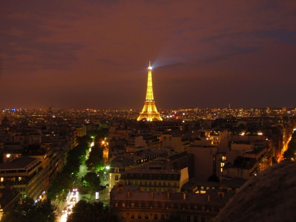Eiffel Tower as seen from Arc de Triomphe at night