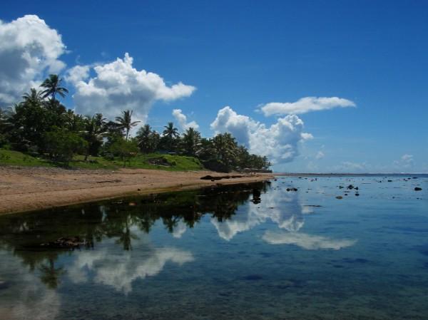 Perfect mirror by Fijian lagoon, Viti Levu, Fiji