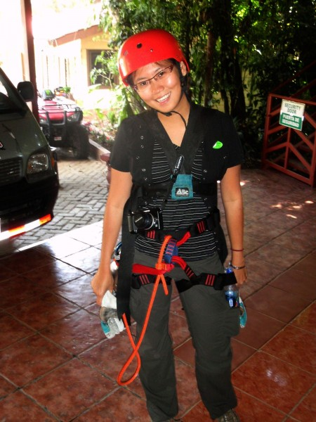 The Harness for my canopy zip line tour in Monteverde, Costa Rica