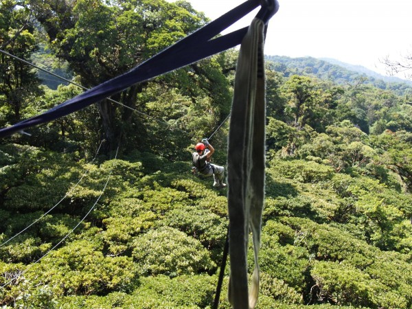 Zip line above the cloud forest of Monteverde, Costa Rica