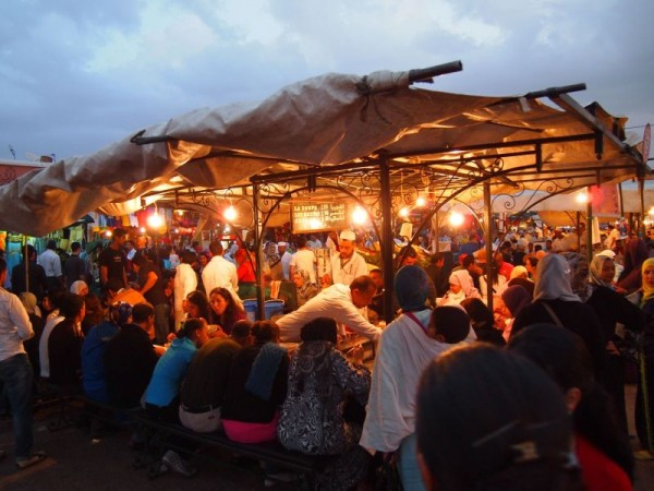 Busy food vendors in Jemaa el-Fnaa, Red City Marrakech, Morocco