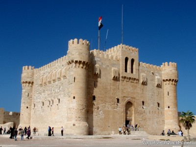 Citadel of Qaitbay, which was errected on the ruin of the Lighthouse of Alexandria, with a little mosque on the top. (Alexandria, Egypt)