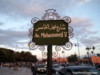 Av. Muhammed V street sign (Marrakech, Morocco)