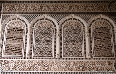 Wall decoration inside the Bahia Palace (Marrakech, Morocco)