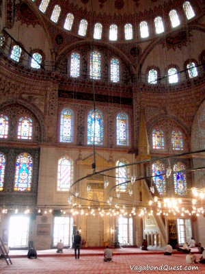 The main hall of the Blue Mosque