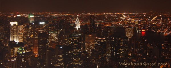 New York under the night sky from Empire State Building