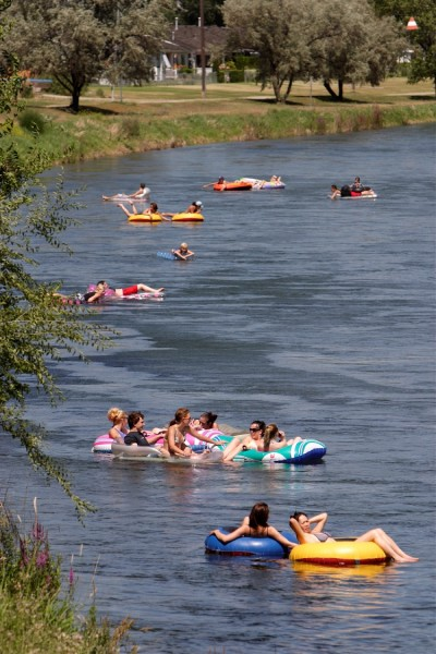 Tubing in the Okanagan River Channel in Penticton - British Columbia Canada