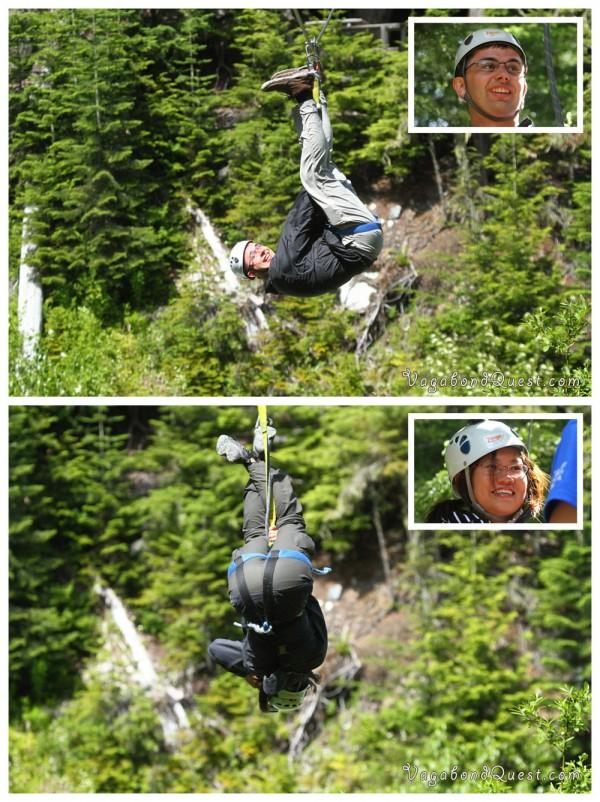 Canada BC Whistler Zipline Upside Down