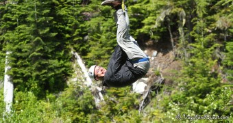 Whistler Zipline Upside Down Ryan
